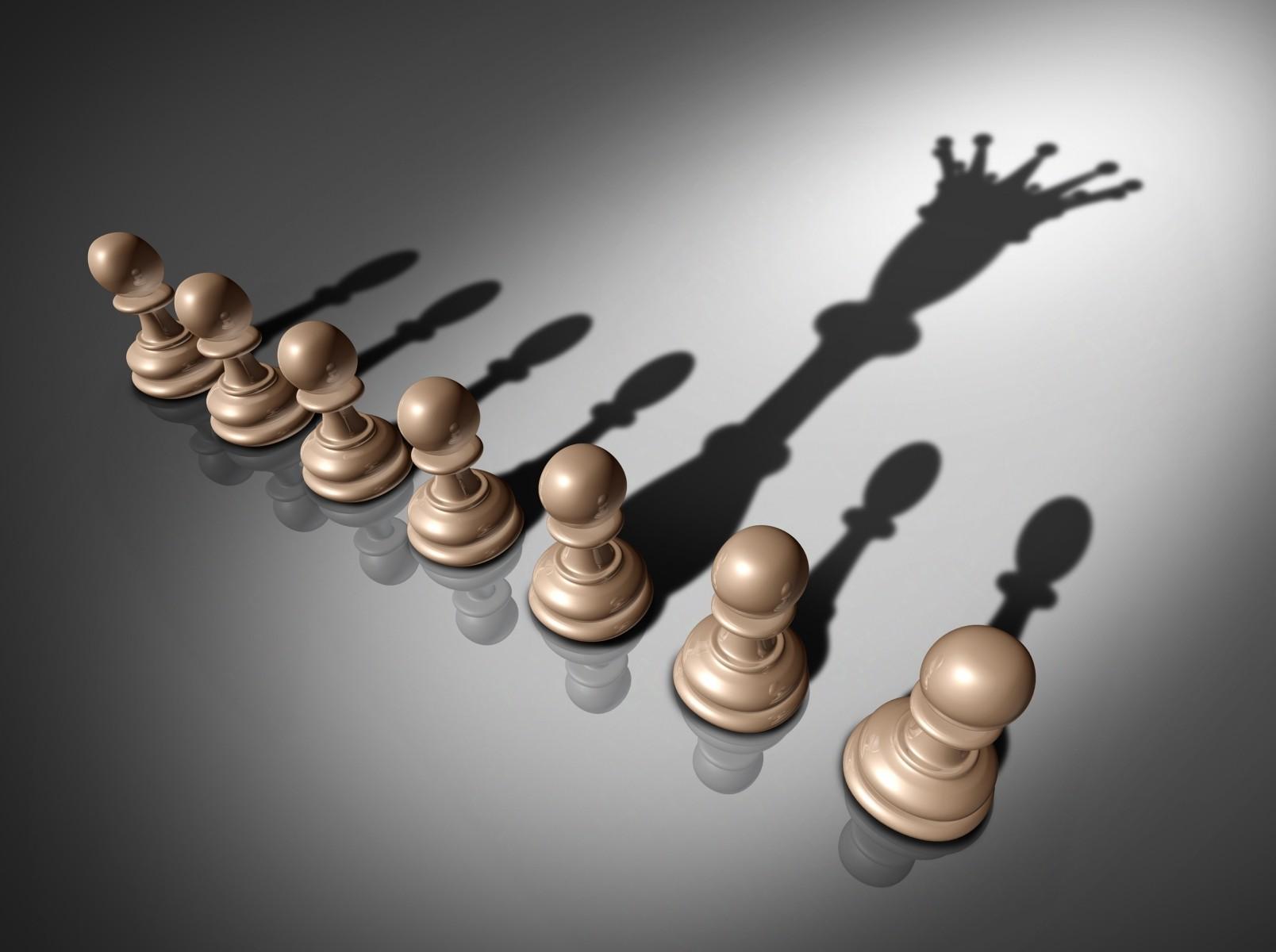 Bidak catur sebagai ilustrasi kepemimpinan